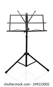 Close up music stand isolated on white background