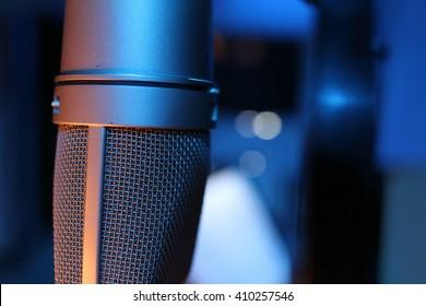 Close up of music studio microphone