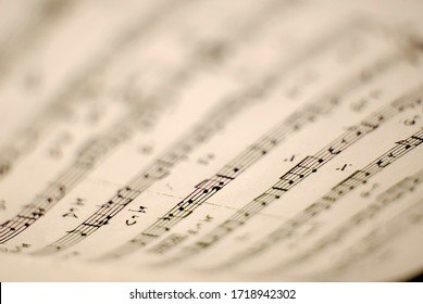 close up of a musical pentagram on a music sheet