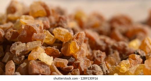 close up of myrrh resin , commiphora myrrha