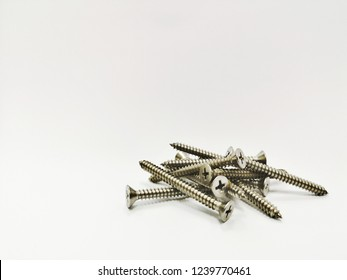 Close up Nails on white background, Equipment technician,Close up screw thread