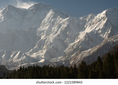Close  up  of  NANGA  PARBAT  peak . The  ninth   highest mountain in the world.  View  from  fairy  meadows  northern  Pakistan.