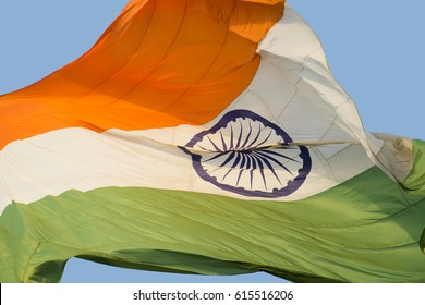Close Up of National Indian Flag - Tricolor