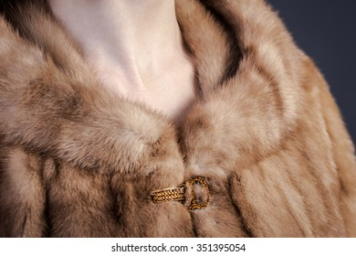 close up of a natural mink coat