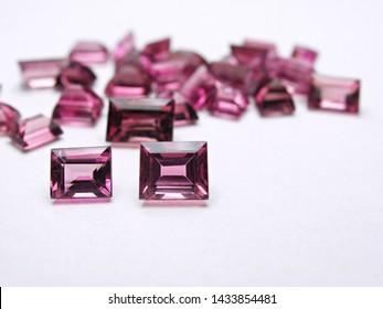 close up natural pink tourmaline gemstone square shape cutting