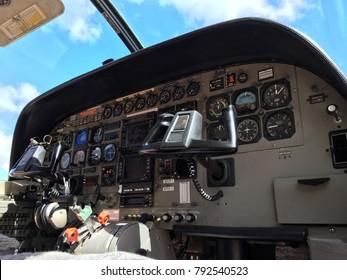 Close Up of Navigation Plane Dashboard. Cessna 208B Grand Caravan