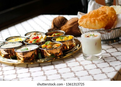 close up of navratri thali, indian food
