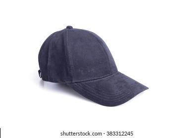 Close up new black baseball hat isolated on white background