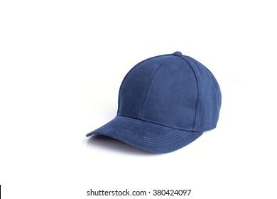 Close up new blue baseball hat isolated on white background