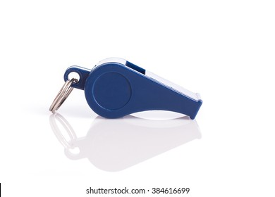 Close up new blue whistle isolated on white background