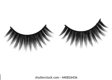 Close up a New false Eyelashes style for woman eyes isolated on white background with copy space