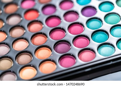 Close up of new matte eyeshadow colorful shades palette.