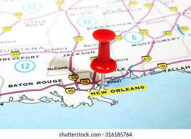 Close up of  New Orleans  USA map with red pin - Travel concept