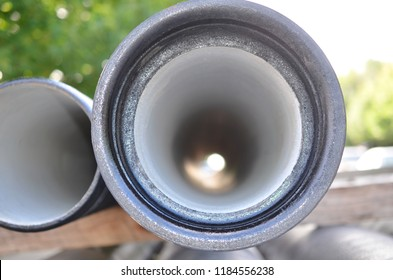 Close up of new pipe for water pipeline sewage or gas