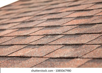 Close up of new roof with asphalt shingles