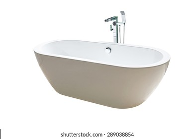 Close new white bathtub isolated on white background