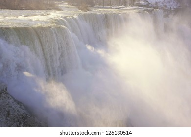 Close up of Niagara Falls in winter, New York, USA