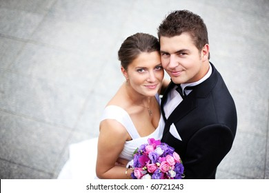Close up of a nice young wedding couple