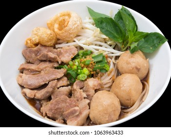 Close up Noodles with pork and pork balls with soup Thai style.