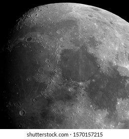 Close up to the north pole of our Moon, in its phase of waxing gibbous. Some famous craters as Plato; Eratosthenes; the alps; the apenninus; Copernicus and others. Isolated in the black deep space.