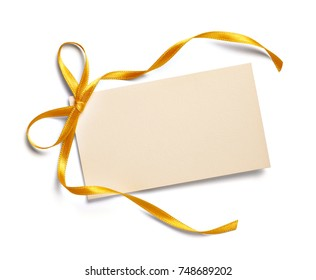 close up of a  note card with ribbon bow on white background