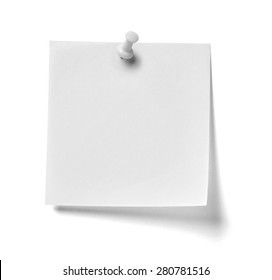 close up of  a note paper with a white push pin on white background