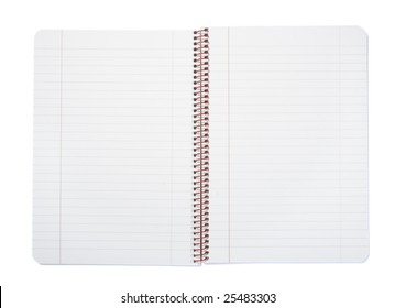 close up of notebook on white background with clipping path