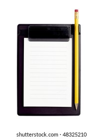 close up of notebook and pencil on white background with clipping path