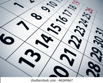 Close up of numbers on a calendar page.