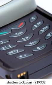 Close up of numeric keypad on mobile phone