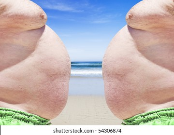 Close up of obese twins on the beach showing their unhealthy bellies