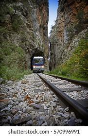 close up of Odontotos rack railway, train Kalavrita - Diakopto route