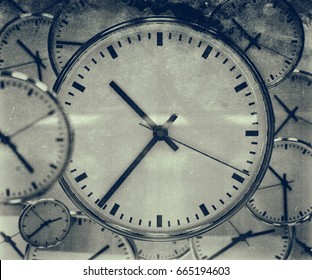 Close Up of Office Watch Time Clock Dial Black and White Pattern, Time Abstract, Urgency, Accurate, Timing Concept, Clock Background, Close Up on Clockwise, Face of White Antique Vintage Clock
