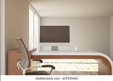 Close up of office workplace with blank computer screen, coffee cup and sunlight. Mock up, 3D Rendering