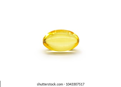Close up of oil filled capsule (soft gel) suitable for presenting food supplements: fish oil, omega 3, omega 6, omega 9, vitamin A, vitamin D, vitamin D3, vitamin E, evening primrose oil, borage oil