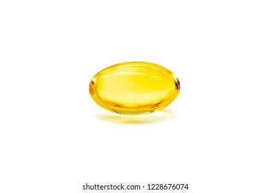 Close up of oil filled capsule (soft gel) suitable for presenting food supplements: fish oil, omega 3, omega 6, omega 9, vitamin A, vitamin D, vitamin D3, vitamin E, evening primrose oil, borage oil.