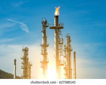 Close up Oil and Gas or flare burning on Refinery platform.