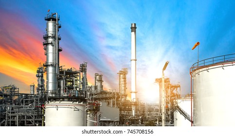 Close up oil and gas refinery factory at sunset,Industrial petrochemical plant.