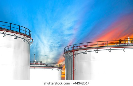 Close up oil and gas refinery storage tank at sunset,Industrial petrochemical plant.