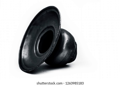 Close up of old ancient vessel or utensil or container or isolated on white i.e. Chilamchi or chelam or spit container or spittoon or brass spit container isolated on white.