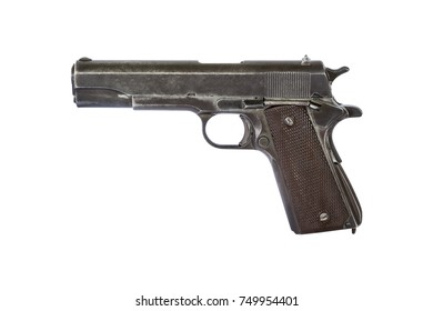 close up old automatic pistol  handgun military weapon isolated on white background