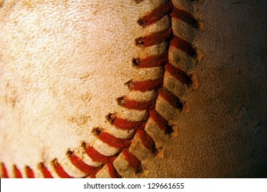 Close up of an old baseball