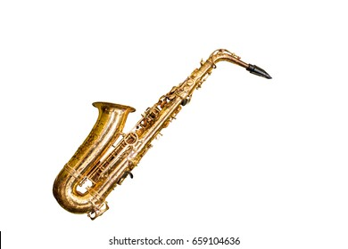 Close up old classic saxophone isolated on white background.Saved with clipping path.