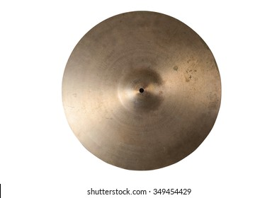 Close up of an old cymbal on isolated background.