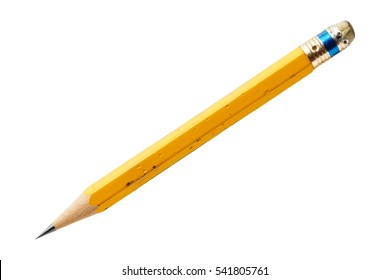 Close up old and dirty yellow color wood pencil isolated on white with clipping path