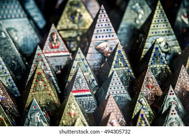 Close up Old Egyptian pharaoh pyramids Statues (Souvenirs)