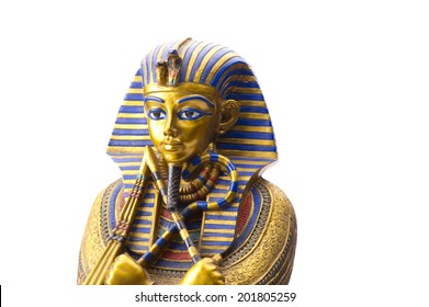 Close up Old Egyptian pharaoh Statue