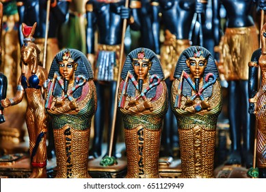 Close up Old Egyptian pharaoh Statues (Souvenirs)