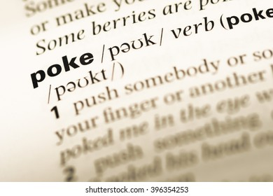 Close up of old English dictionary page with word poke