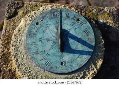 Close up of old garden sundial